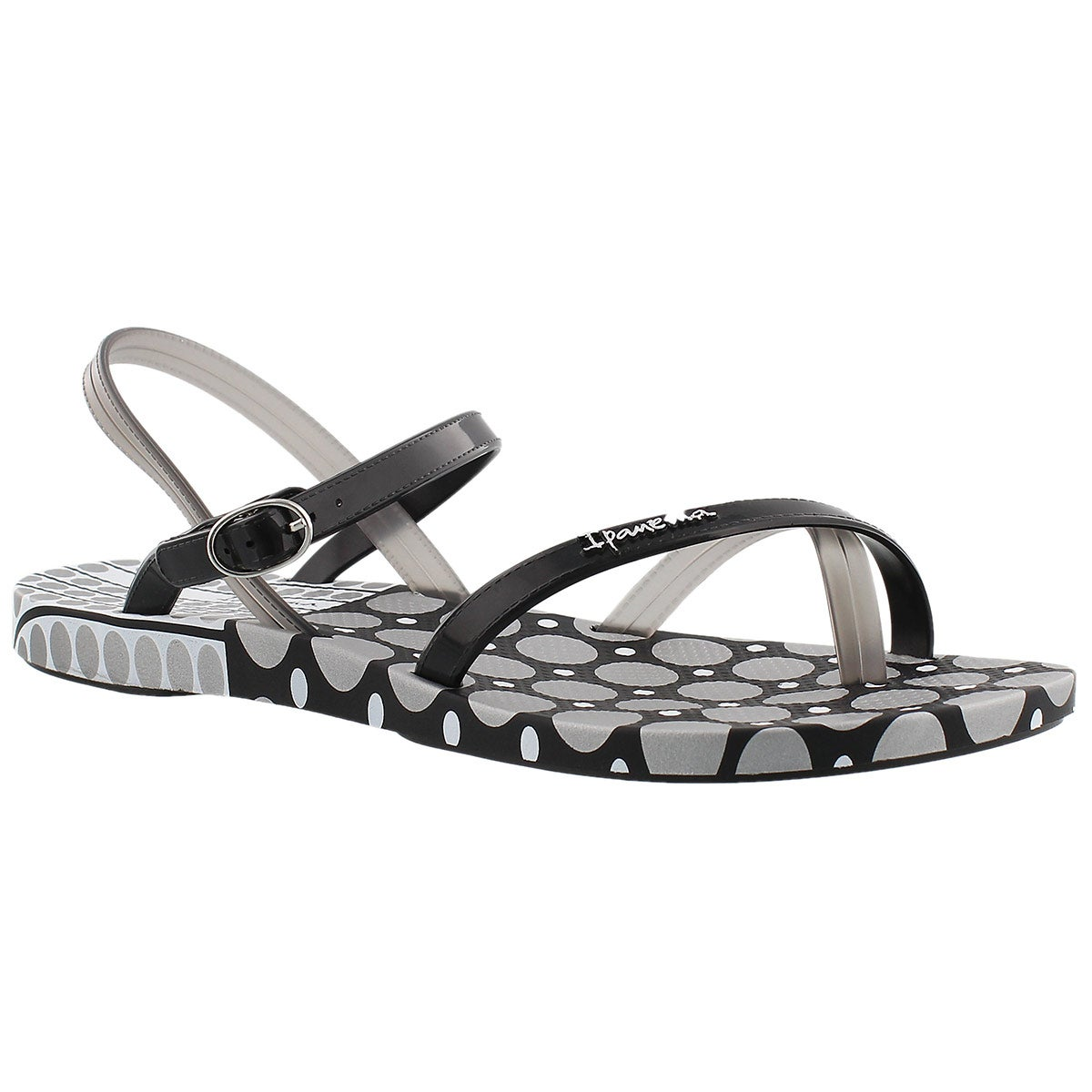 Women's SAND black/white dot toe loop flip flops