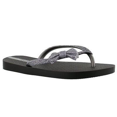 Ipanema Girls' LOLITA III black bow detail flip flops
