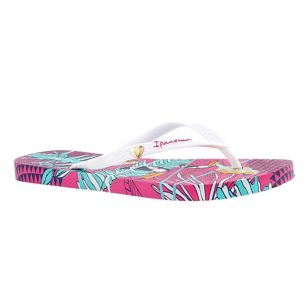 Women's PARAISO pink/white printed flip flops