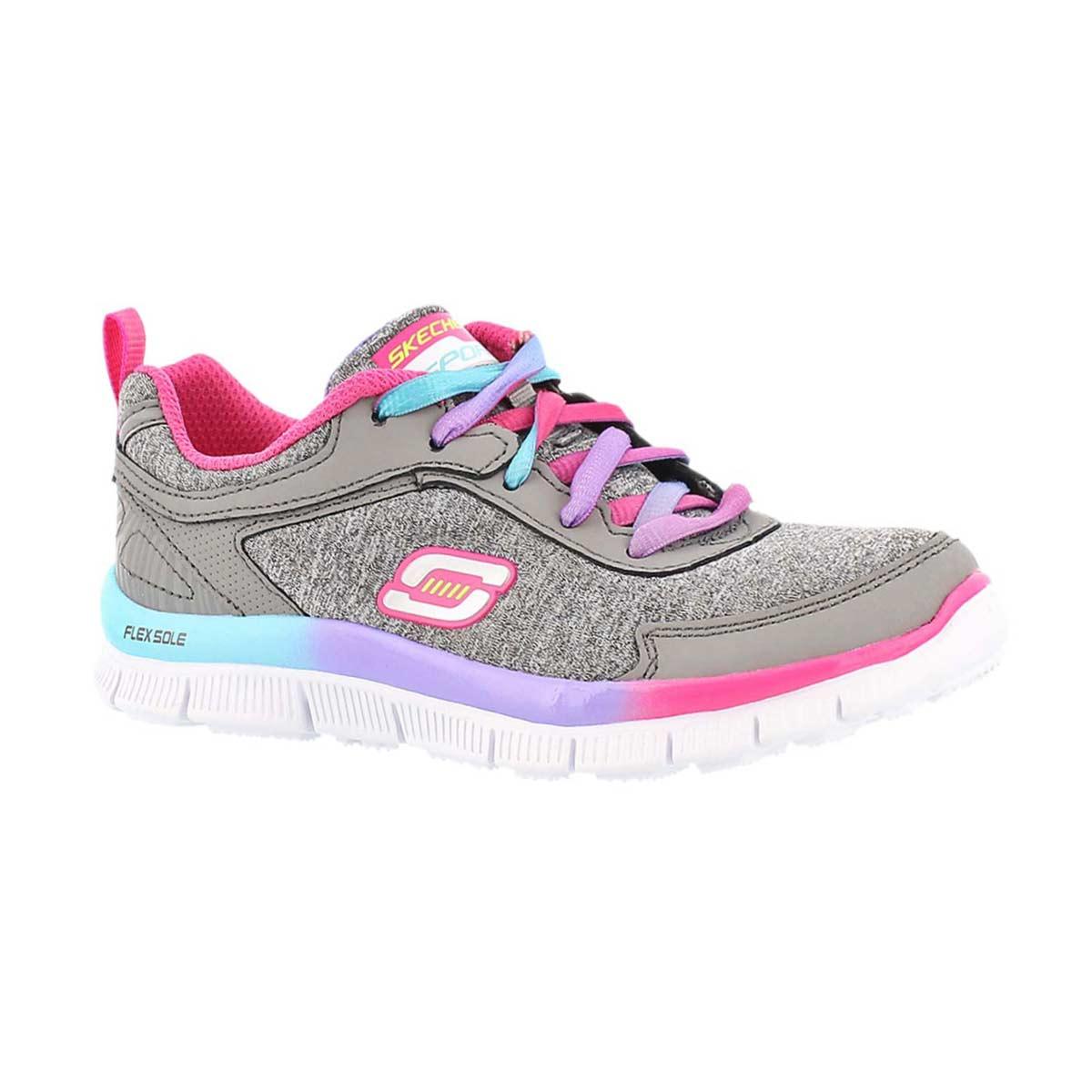 Grls Skech Appeal grey lace up sneaker
