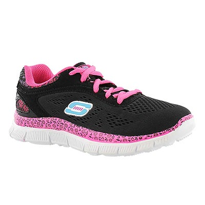 Skechers Girls' ISLAND STYLE black/pink lace up sneakers