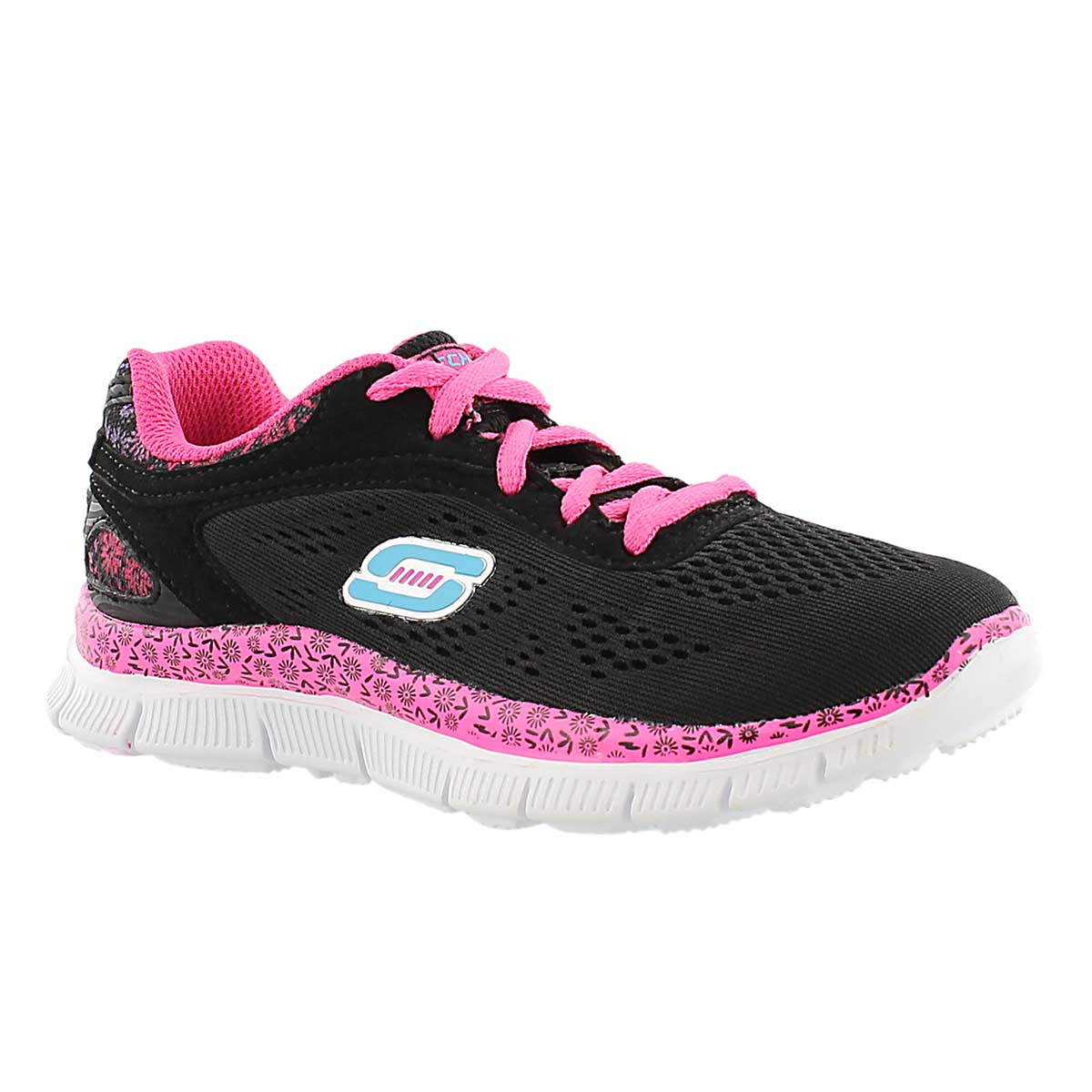 Girls' ISLAND STYLE black/pink lace up sneakers