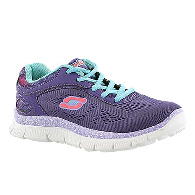Skechers Girls' ISLAND STYLE purple lace up sneakers
