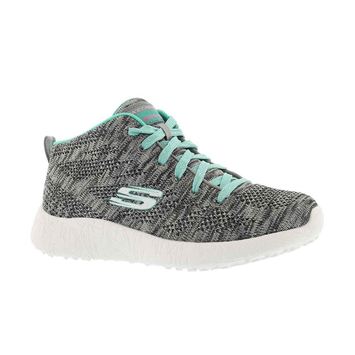 Girls' BURST DIVERGENT grey/aqua hi top sneakers