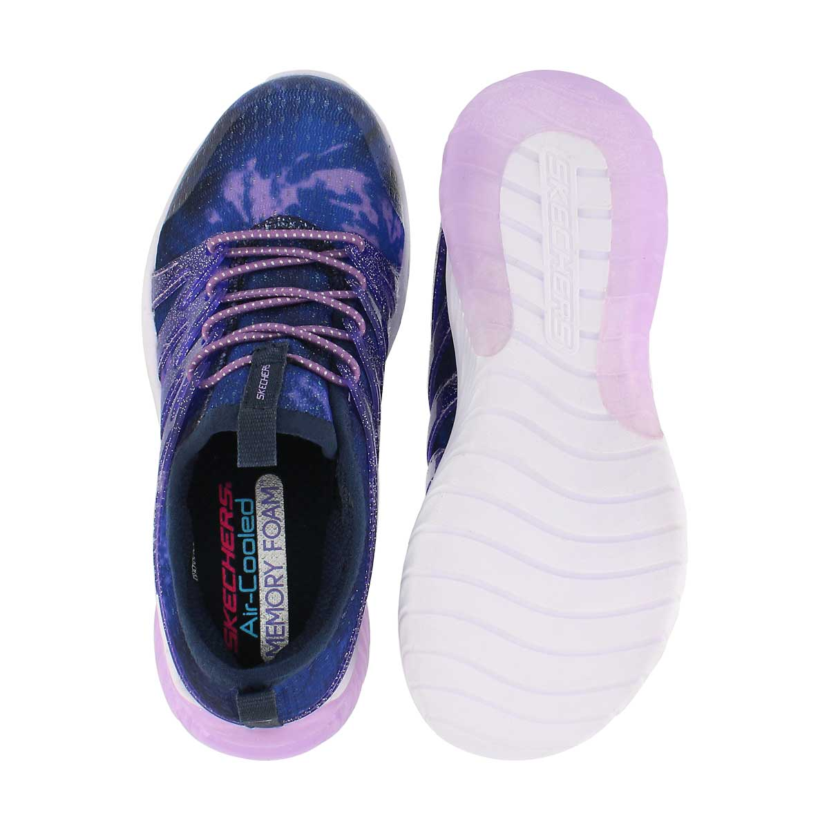 Grls Skech Gem nvy/ppl slip on sneaker