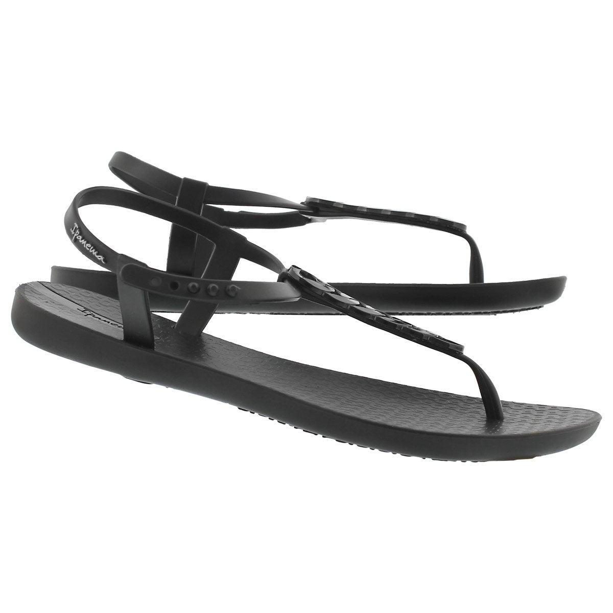 Lds Charm IV Sand blk/blk t-strap sandal
