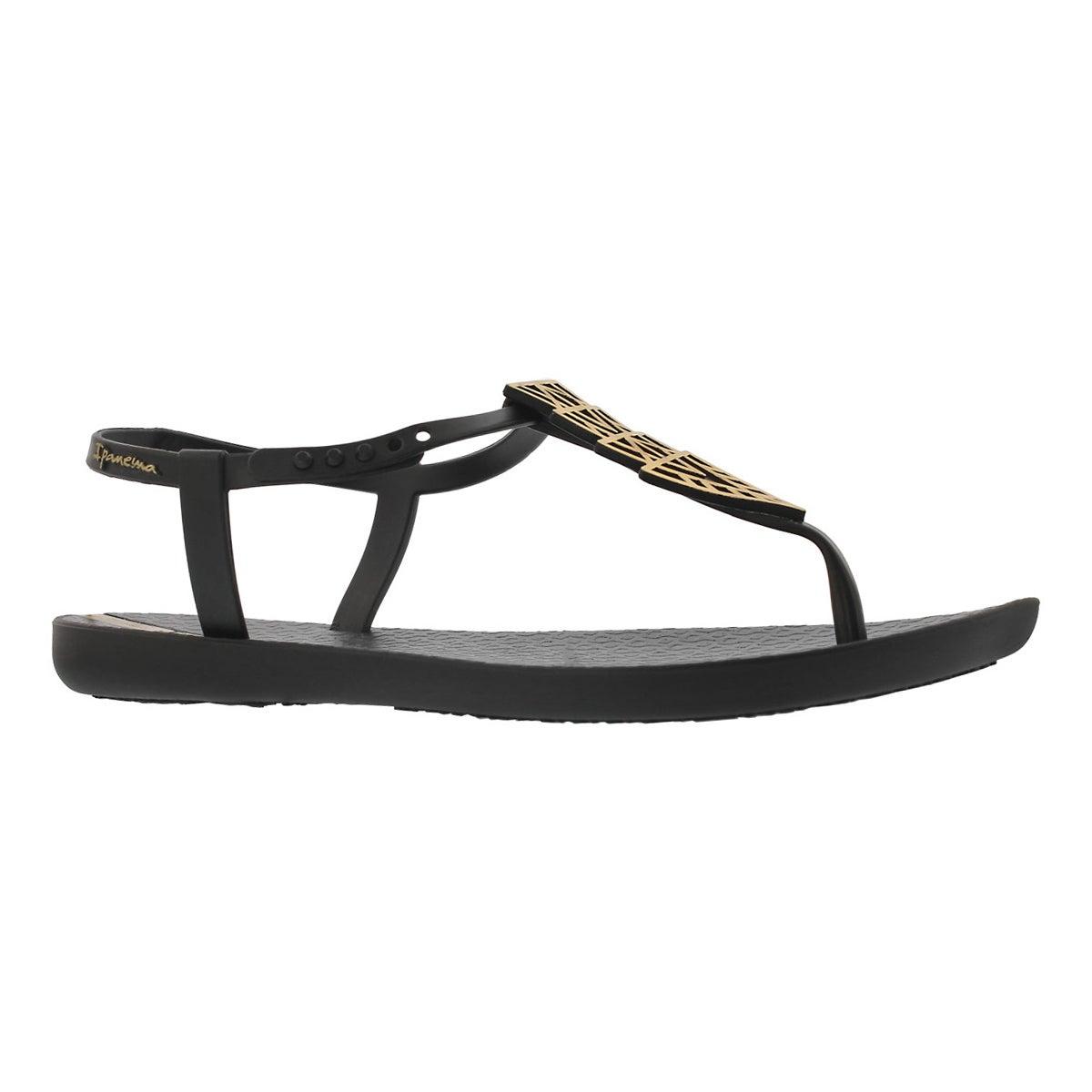 Lds Charm IV Sand blk/gld t-strap sandal