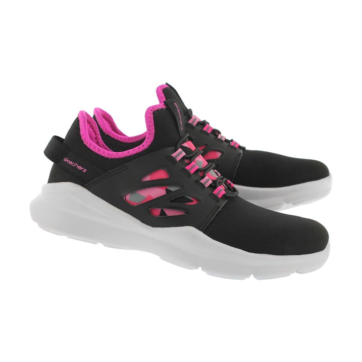 Grls Street Squad blk/pnk slipon sneaker