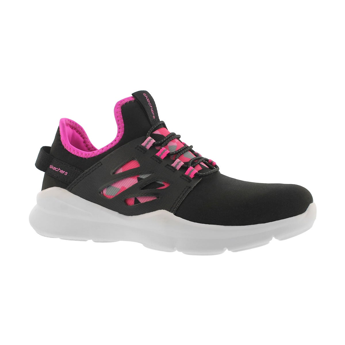 Girls' STREET SQUAD black/pink slip on sneakers