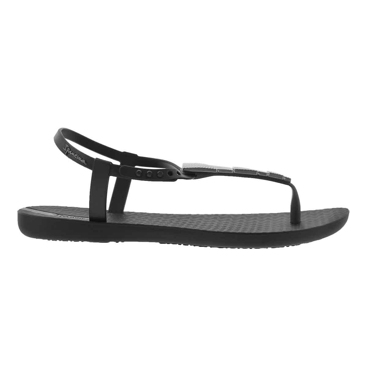 Lds Charm V Sand blk/blk t-strap sandal