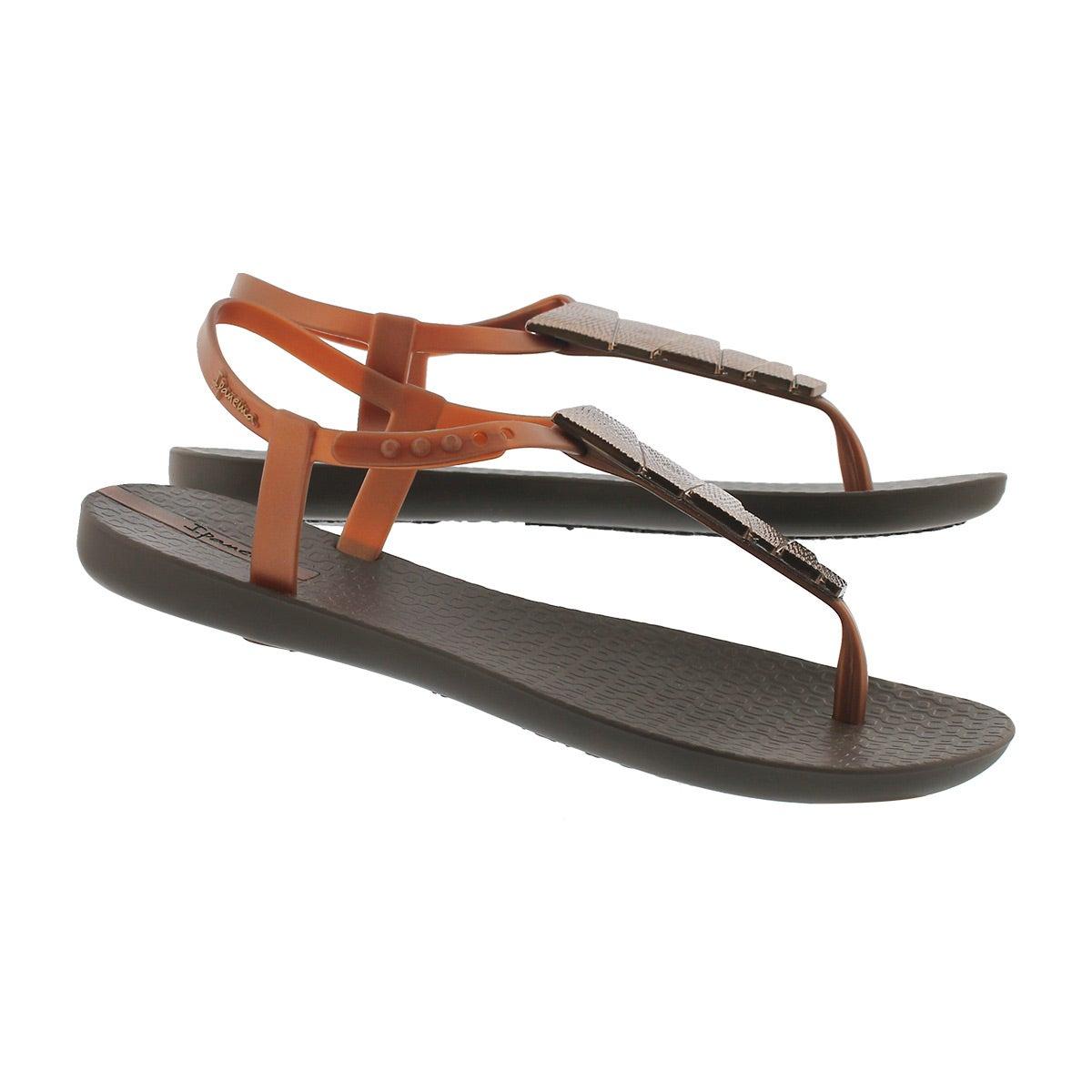 Lds Charm V Sand brn/brz t-strap sandal
