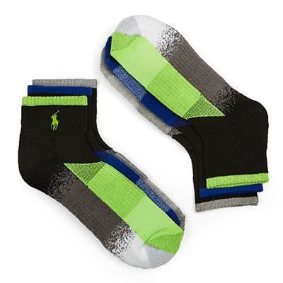 Men's COLOUR BLOCK green/grey/blue 1/4sock 3pack