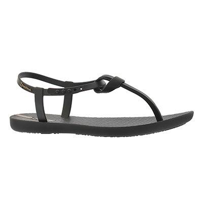 Lds Iellie Sand blk/blk t-strap sandal