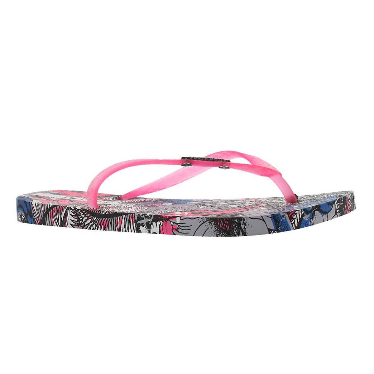 Women's TROPICAL BEAUTY grey/pink flip flops