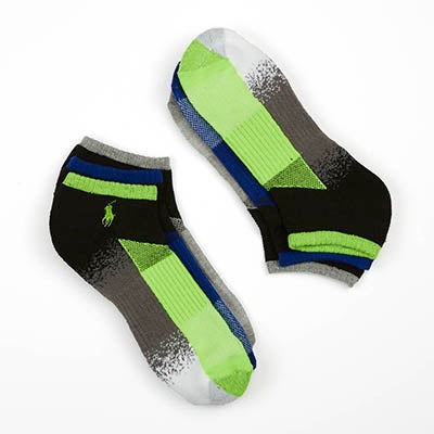 Men's COLOUR BLOCK green/grey/blue low sock - 3 pk