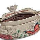 Painted lthr FloralParadise flap hobobag