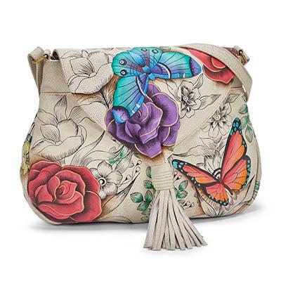 Printed lthr FloralParadise flap hobobag