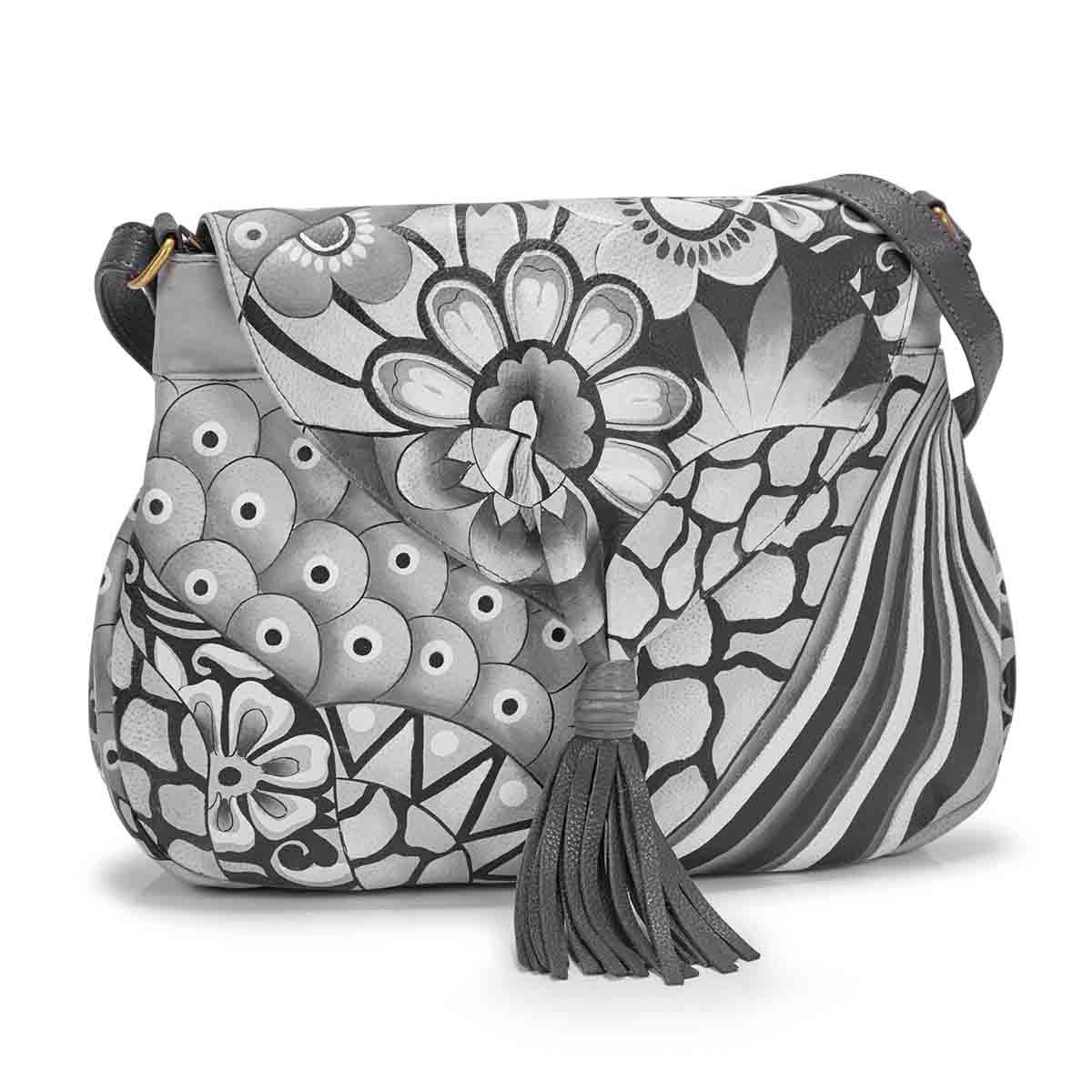 Women's PATCHWORK PEWTER flap hobo bag