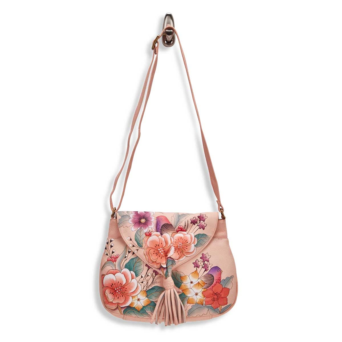 Painted lthr VintageGarden flap hobo bag