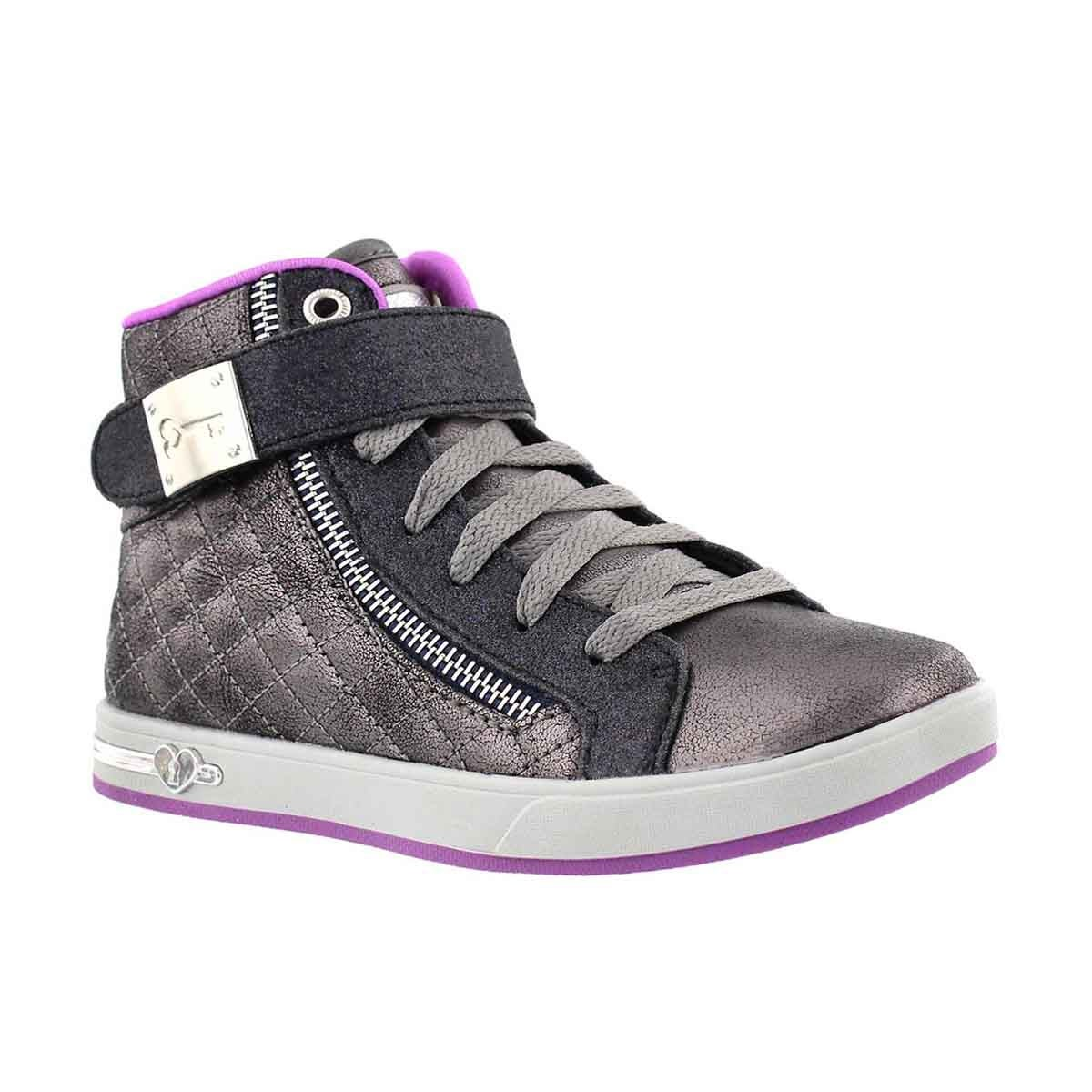 Girls' SHOUTOUT QUILTED CRUSH pewter high tops