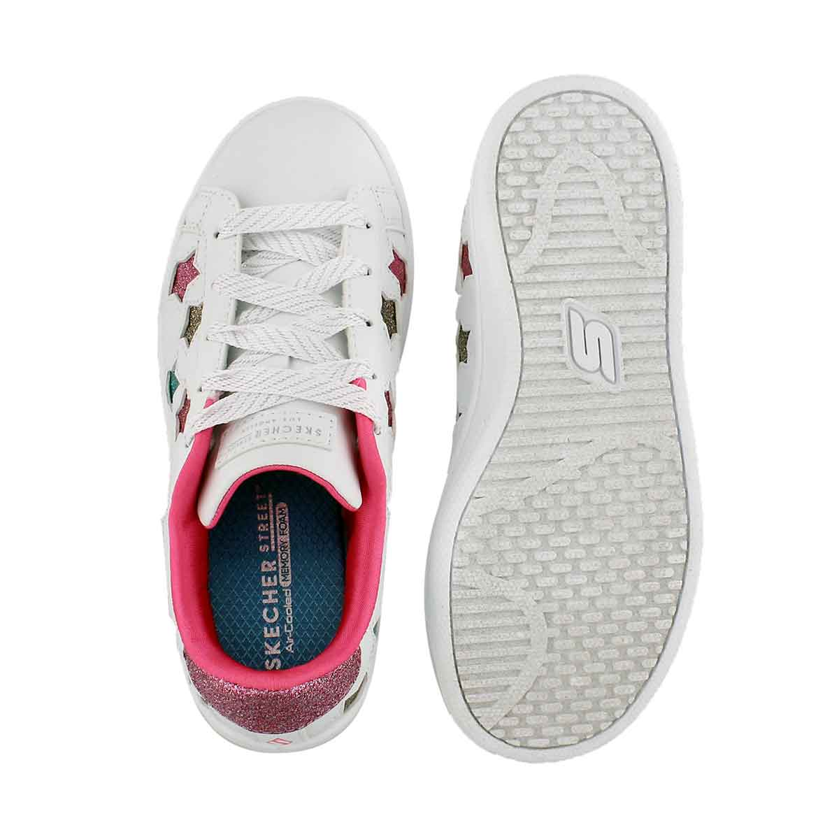 Grls Omne wht/mlti lace up sneaker