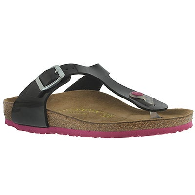 Birkenstock Girls' GIZEH black thong sandals - Narrow