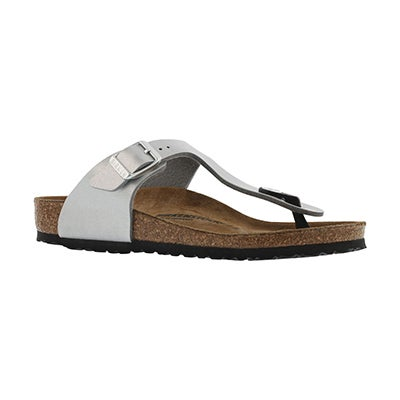 Birkenstock Girls' GIZEH silver thong cork narrow sandals