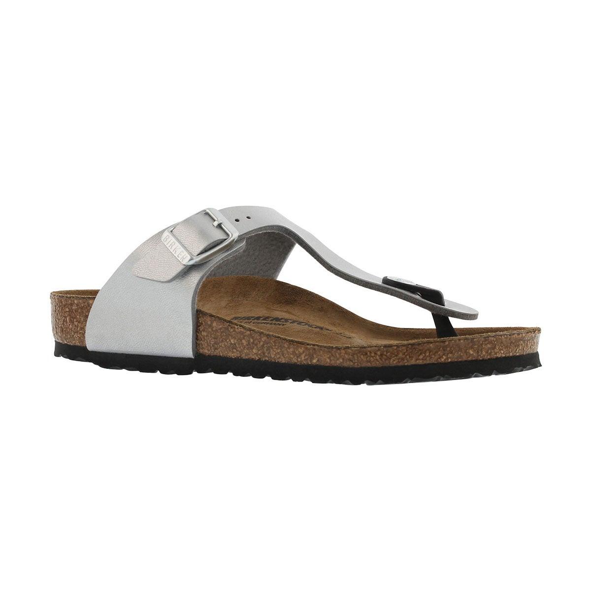 Girls' GIZEH silver thong cork narrow sandals