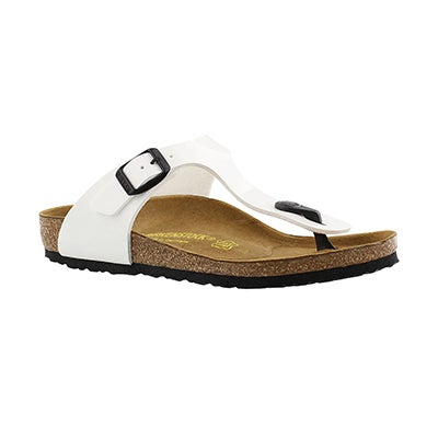 Birkenstock Girls' GIZEH white patent sandals - Narrow