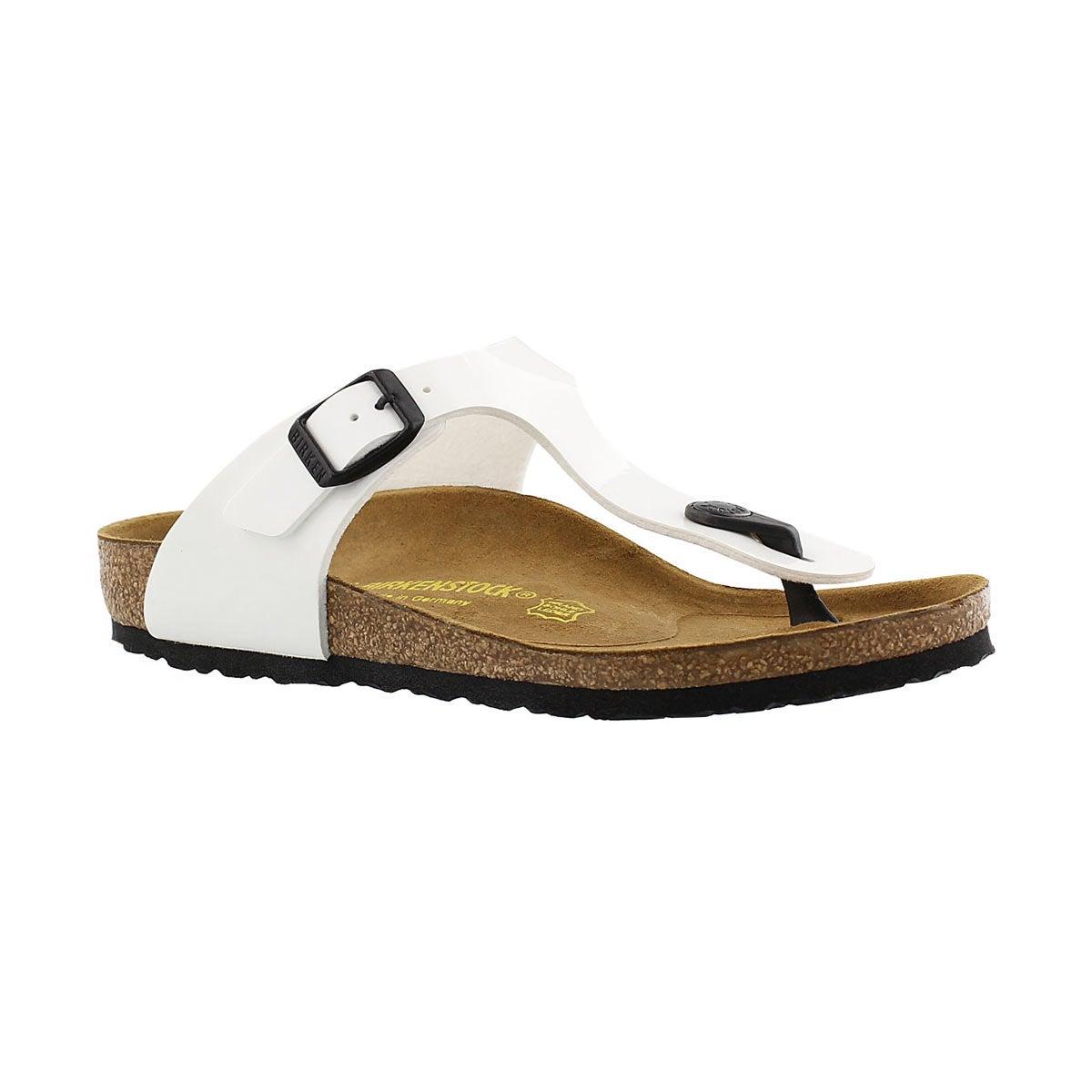 Grls Gizeh white pat BF thong sandal-Nar