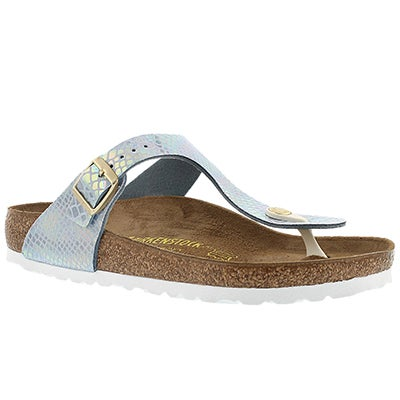 Birkenstock Women's GIZEH shiney snake sky thong sandals