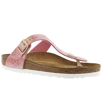 Birkenstock Women's GIZEH shiney snake rose thong sandals