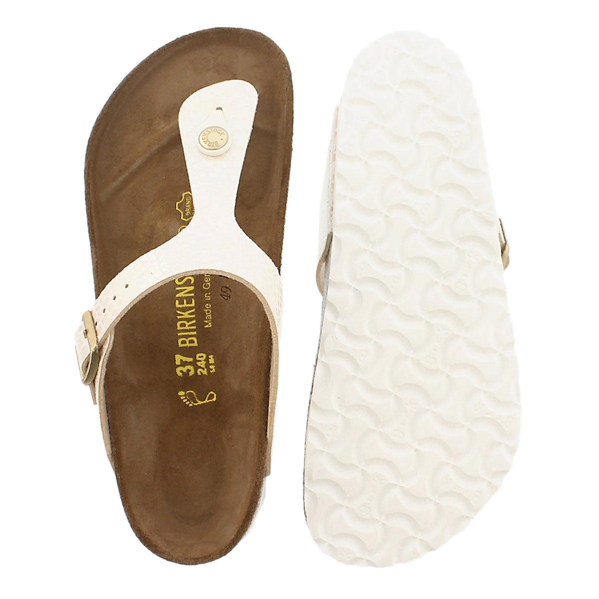 Lds Gizeh shinysnake crm BF thong sandal