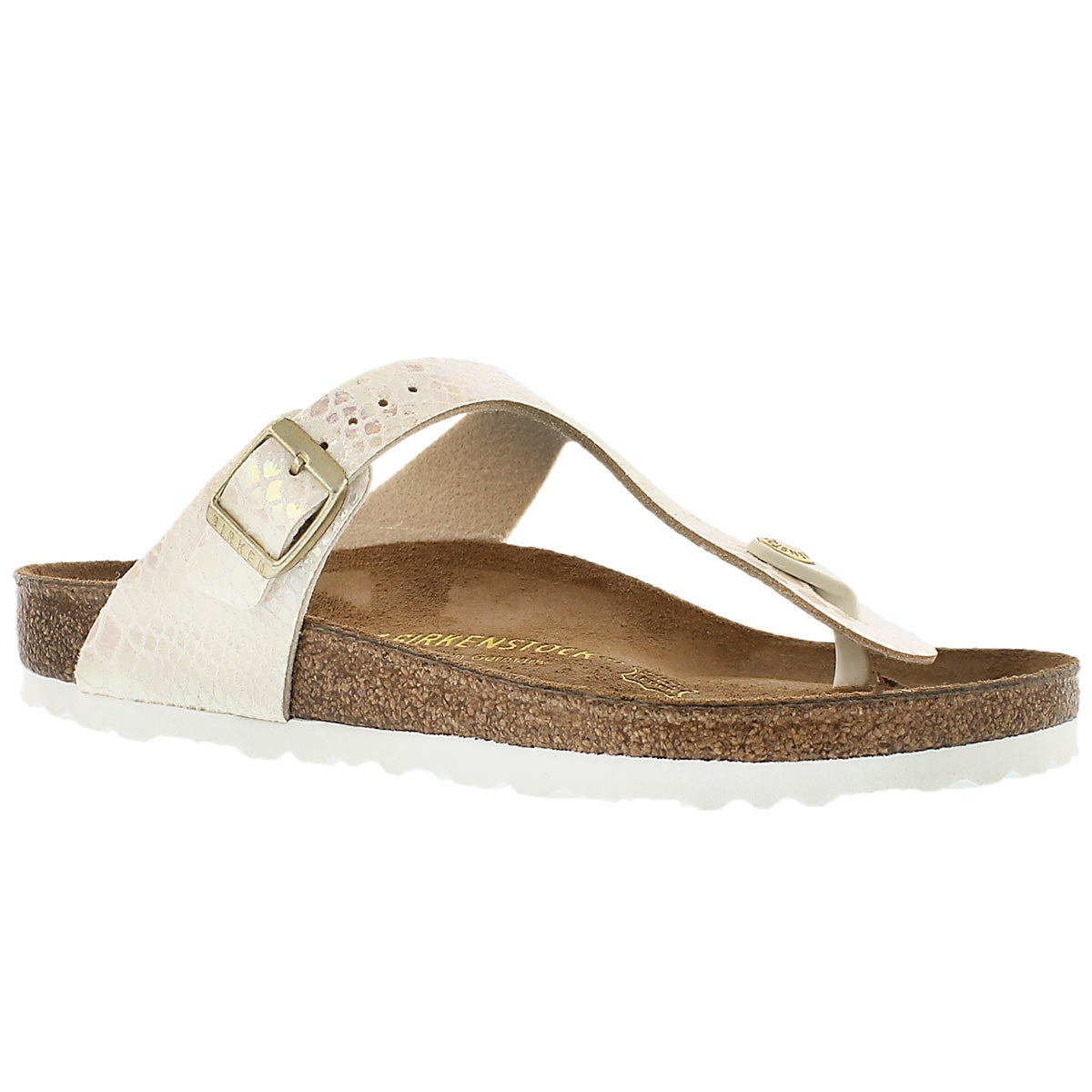 Women's GIZEH shiney snake cream thong sandals