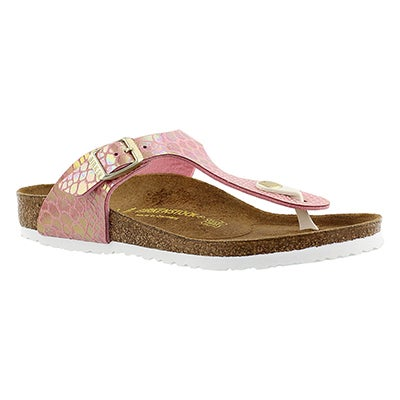 Birkenstock Girls' GIZEH shiney snake rose sandals - Narrrow
