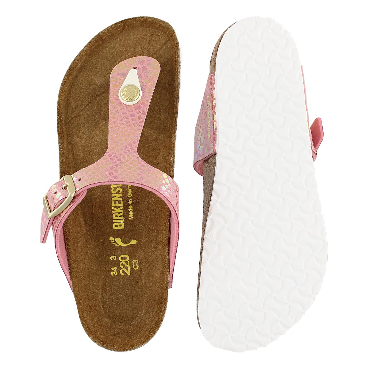 Sandale GIZEH, serpt rose, fille-Étroit