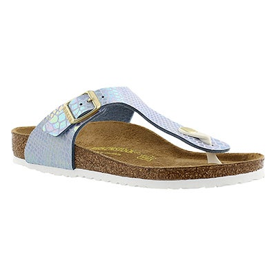 Birkenstock Girls' GIZEH shiney snake sky sandal - Narrow