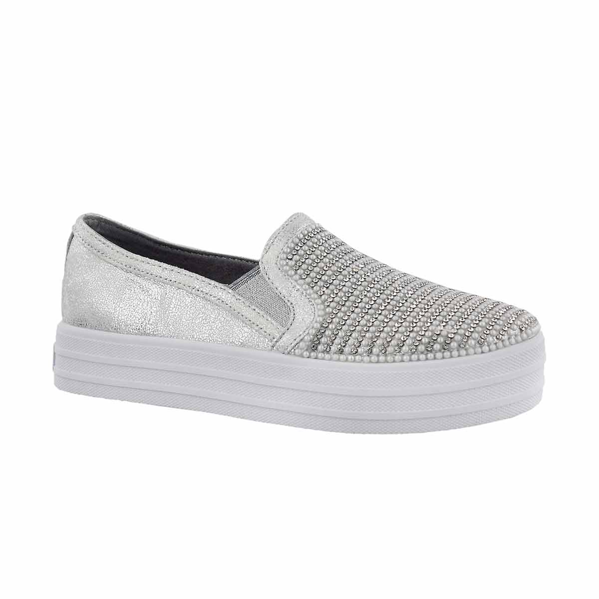 Girls' DOUBLE UP SHINY DANCER silver slip ons