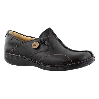 Lds Un.Loop blk leather comfort slip on