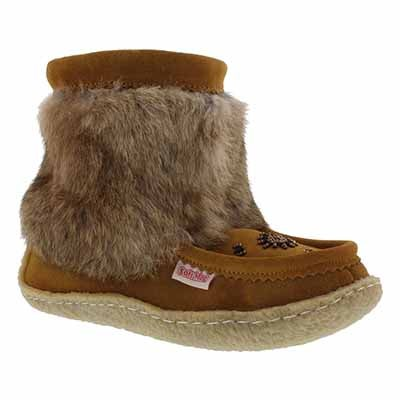 SoftMoc Women's 8532 tan crepe sole half mukluks