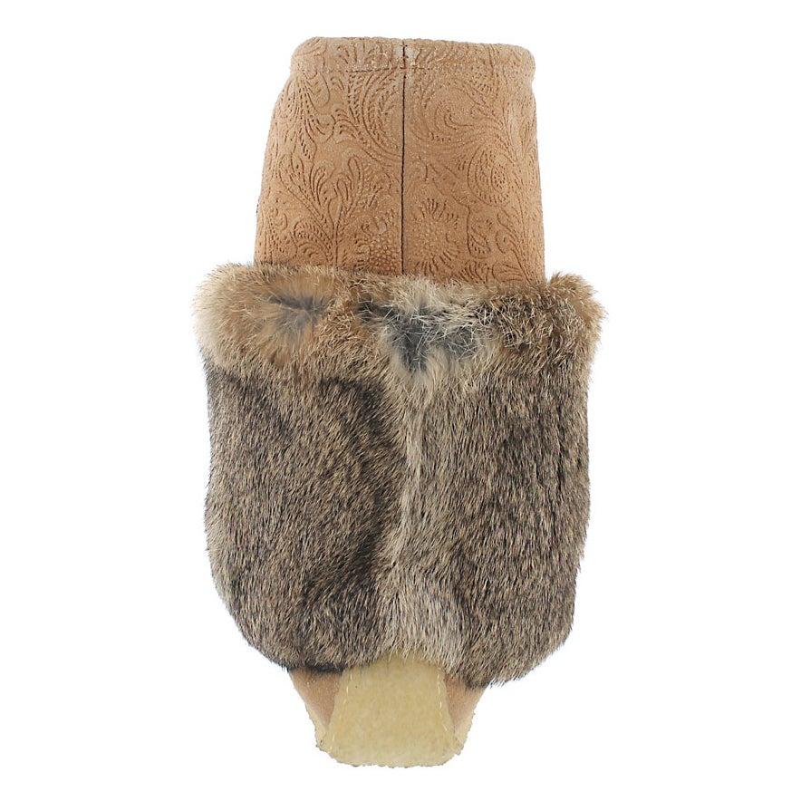 Lds mocha printed rabbit fur mukluk