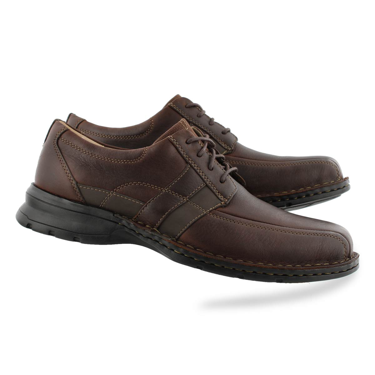 Men's ESPACE brown oily leather comfort oxfords
