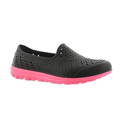 Grls h2 GO Waterlillys blk/pnk slip on