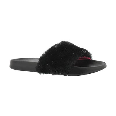Grls TBA black sparkle fur slide sandal