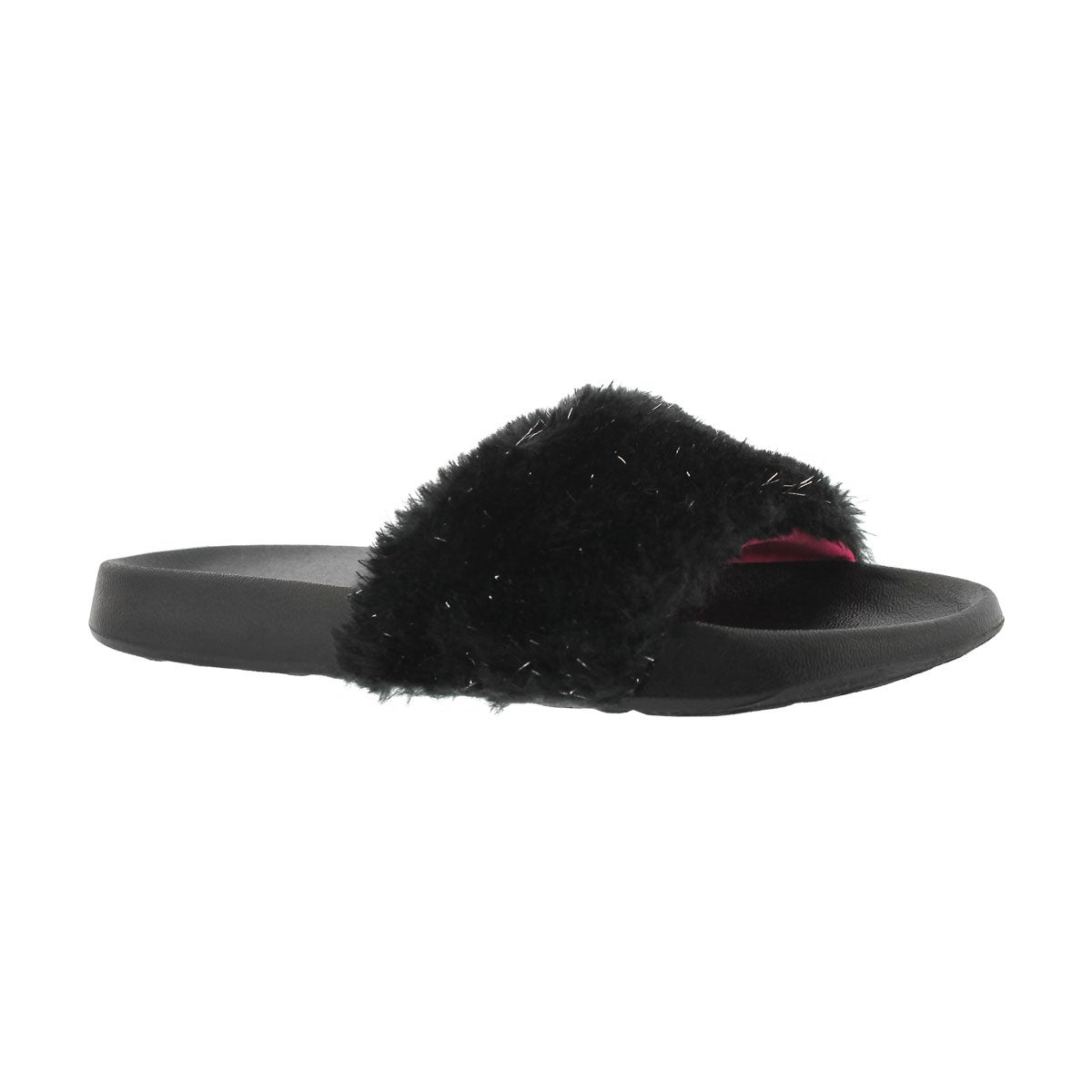 Girls' TBA black sparkle fur slide sandals