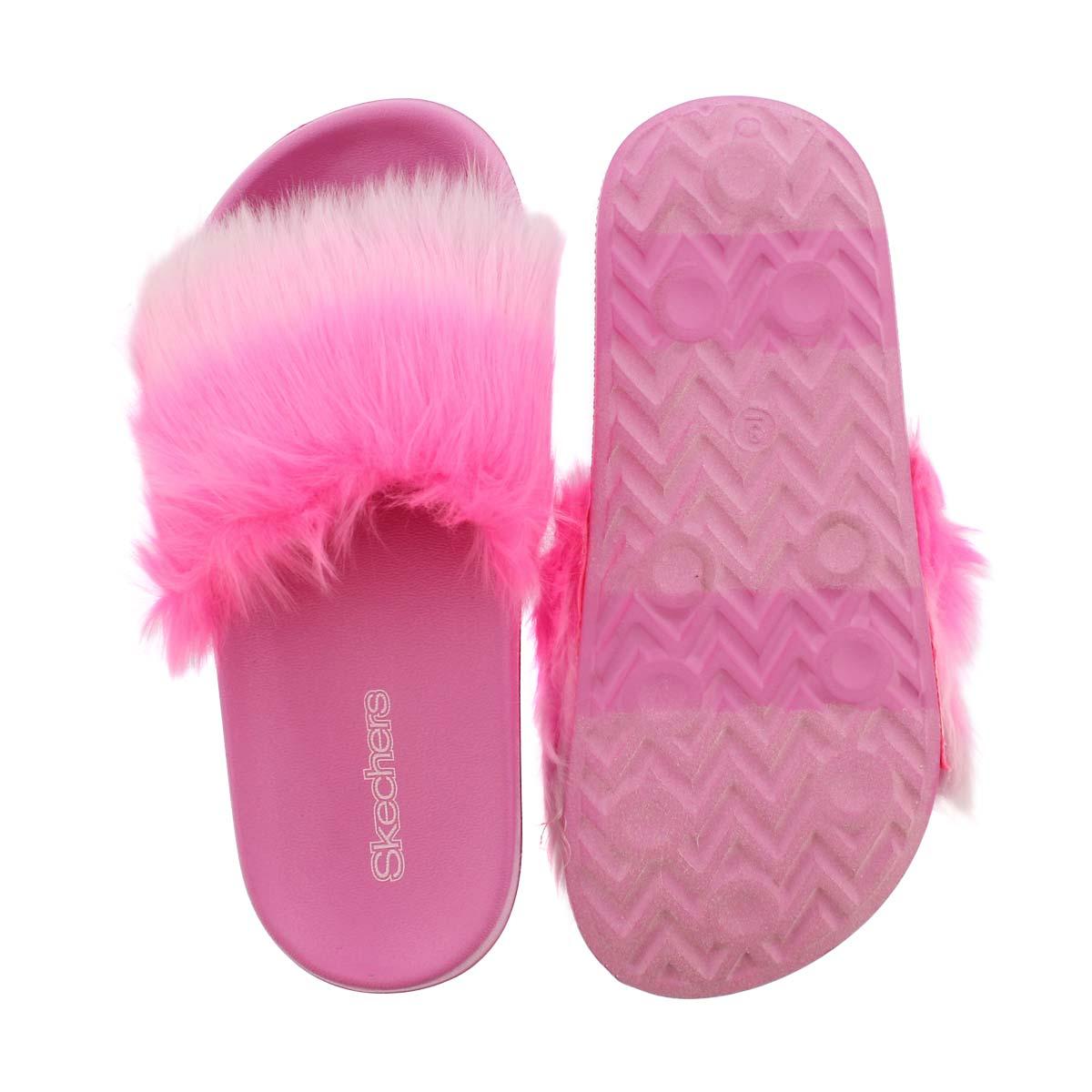 Grls TBA hot pnk ombre fur slide sandal