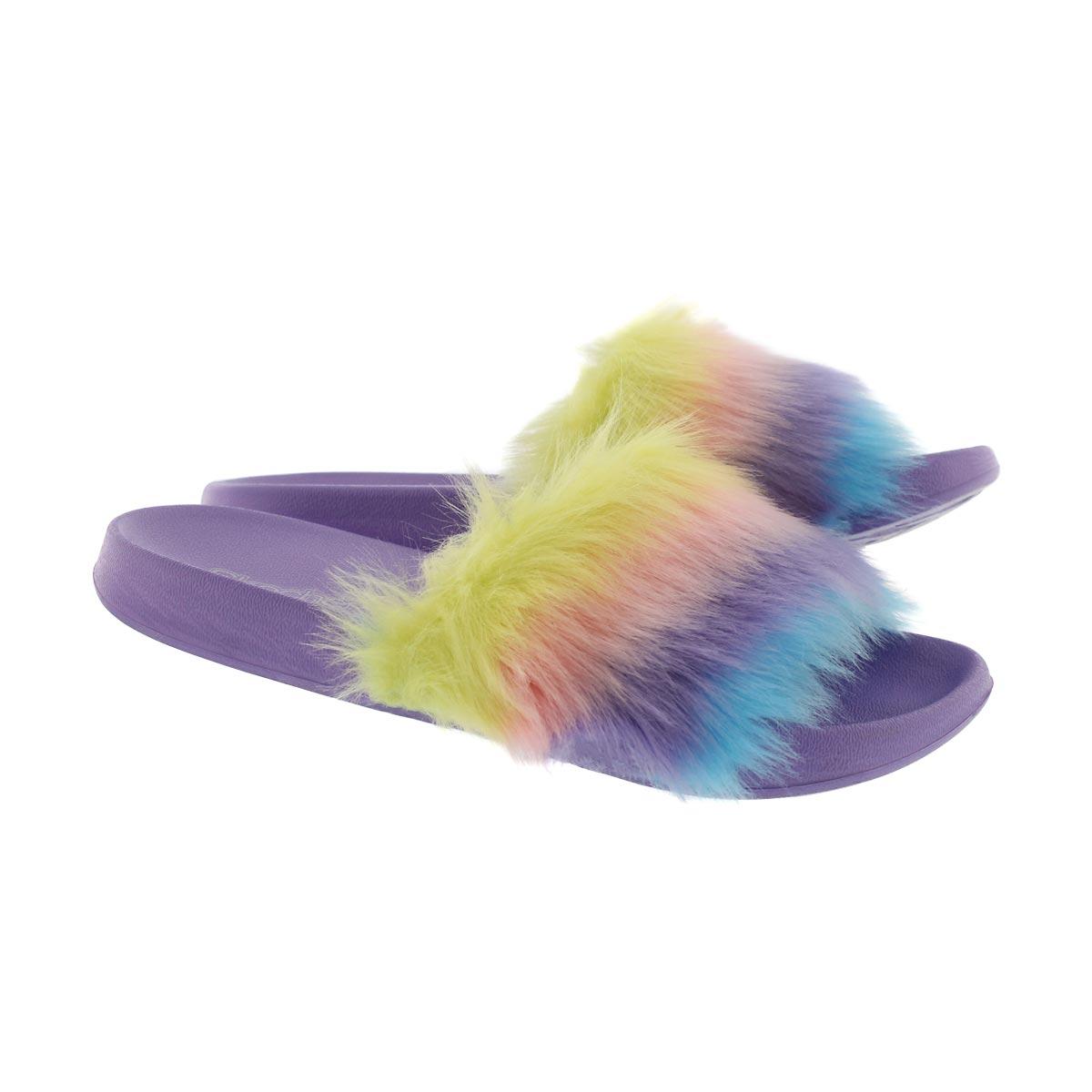Grls TBA mlti/ppl ombre fur slide sandal