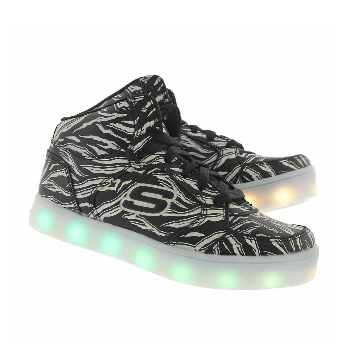 Kds Energy Lights light up bk/wt sneaker