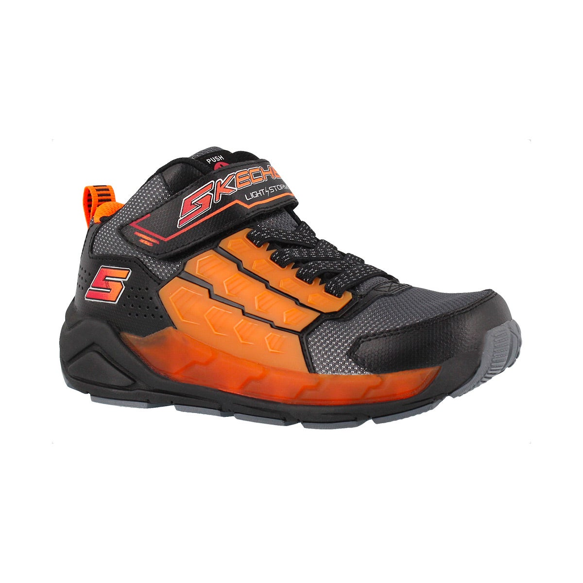 Boys' LIGHT STORM black/orange light up sneakers