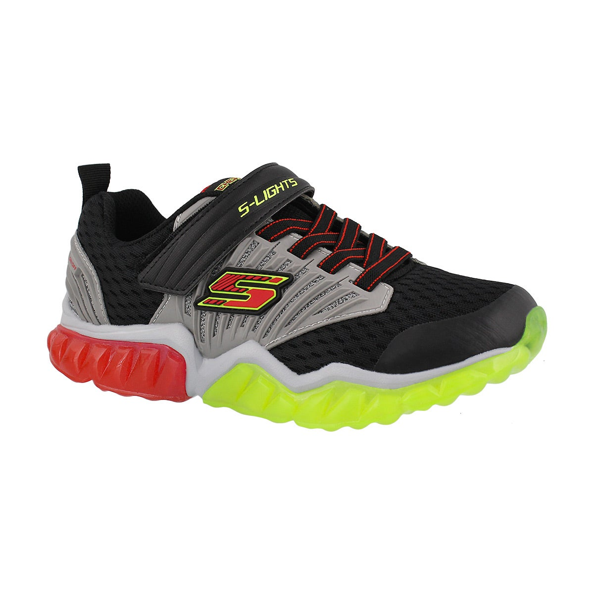 Boys' RADID FLASH blk/grn/rd light up sneakers